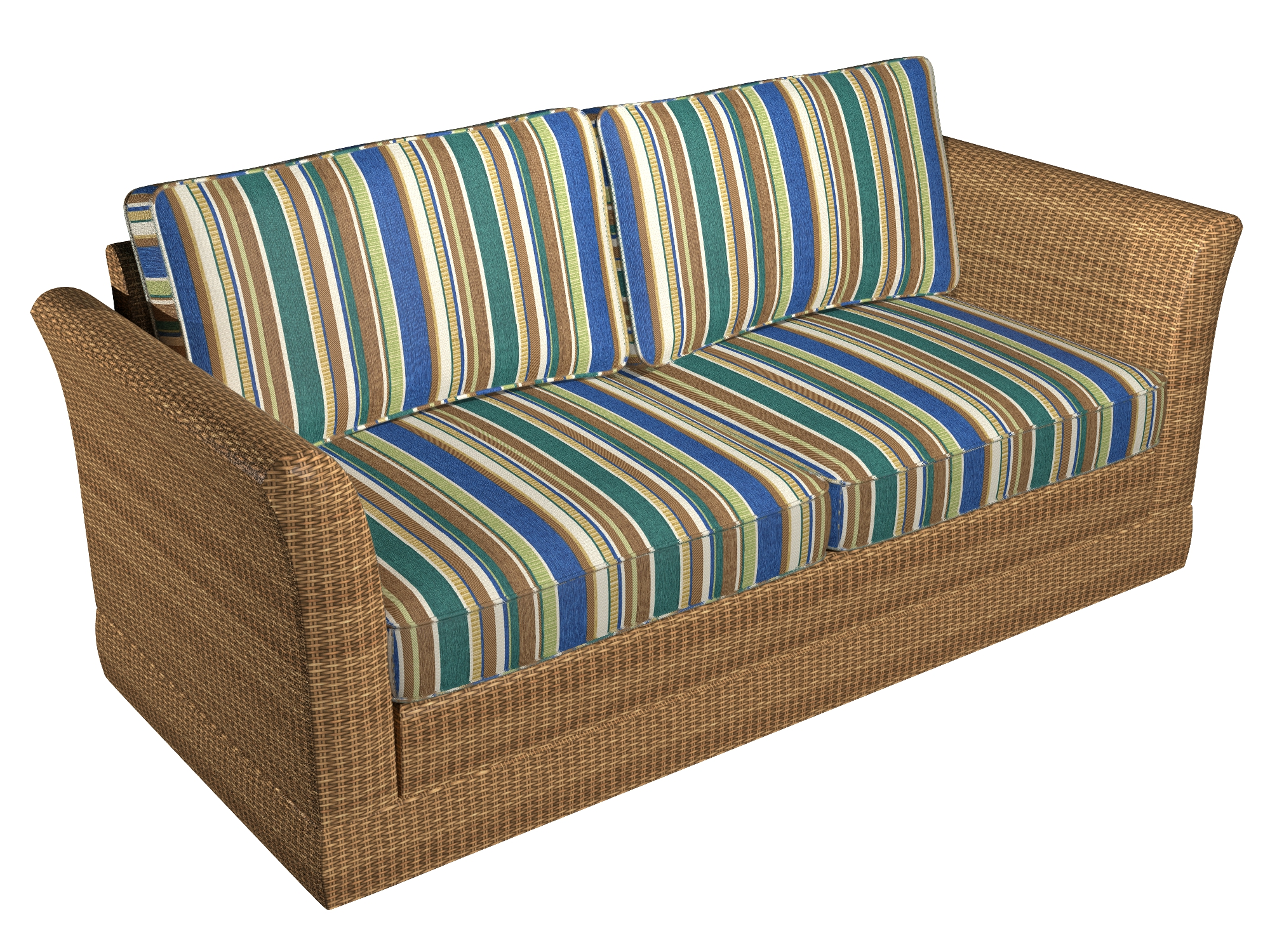 Oasis Stripe Aqua Blue And Brown Canvas Look Outdoor