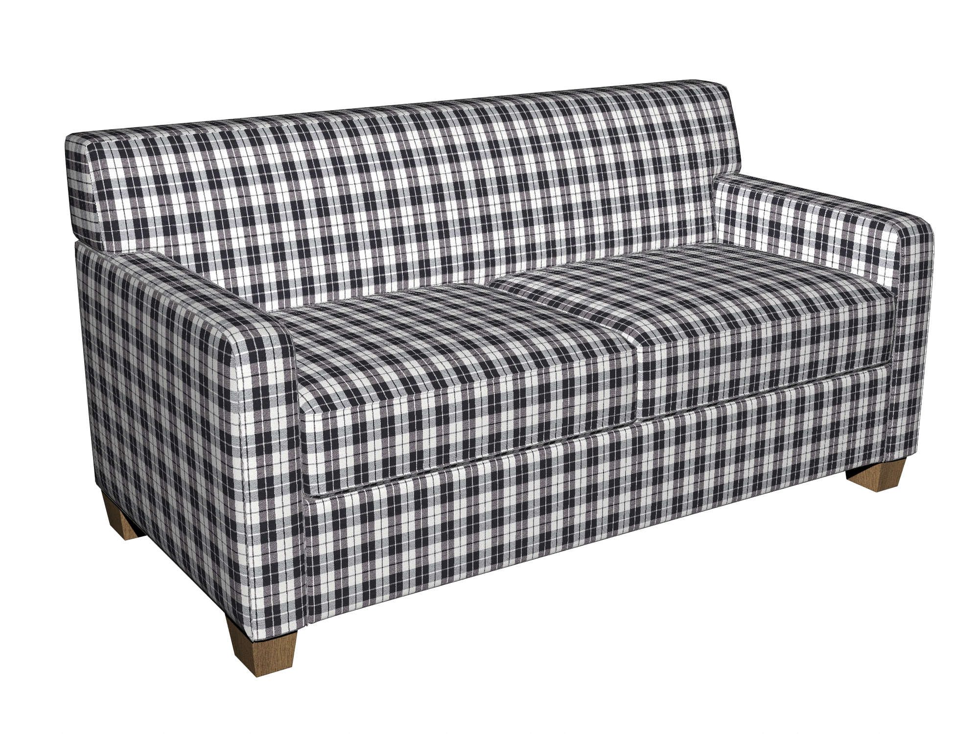 Onyx Plaid Black And White Small Scale Denim Drapery And