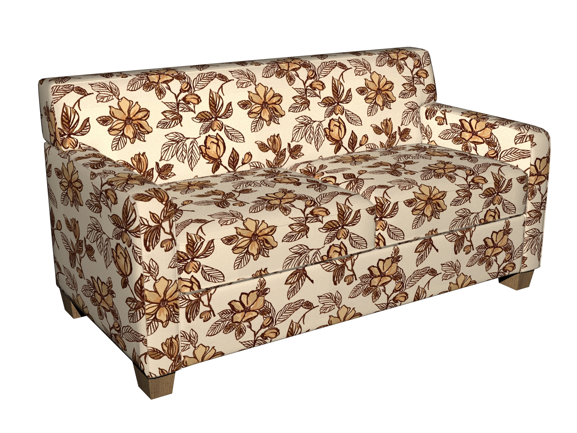 Beige And Brown Flower And Leaf Linen And Microfiber