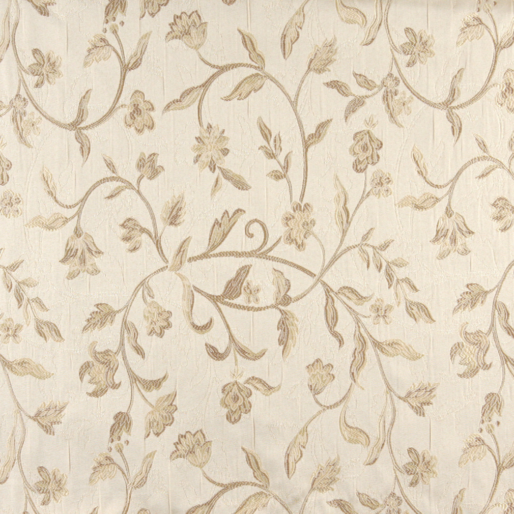 Ecru Beige And White Vintage Large Floral Vine Brocade