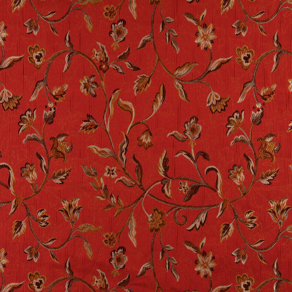 Brown And Red Vintage Large Floral Vine Brocade Upholstery