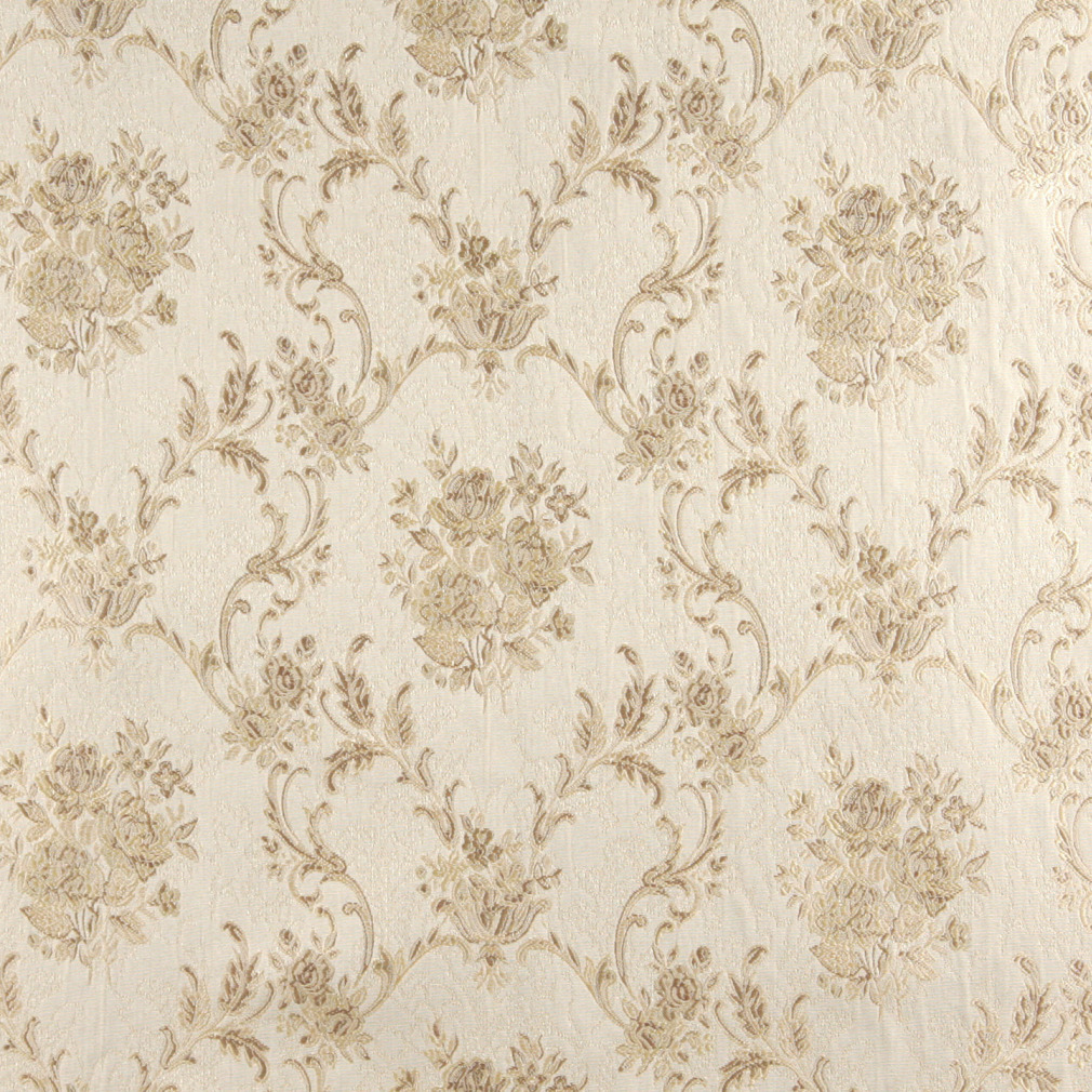 Beige And White Antique French Vintage Large Floral
