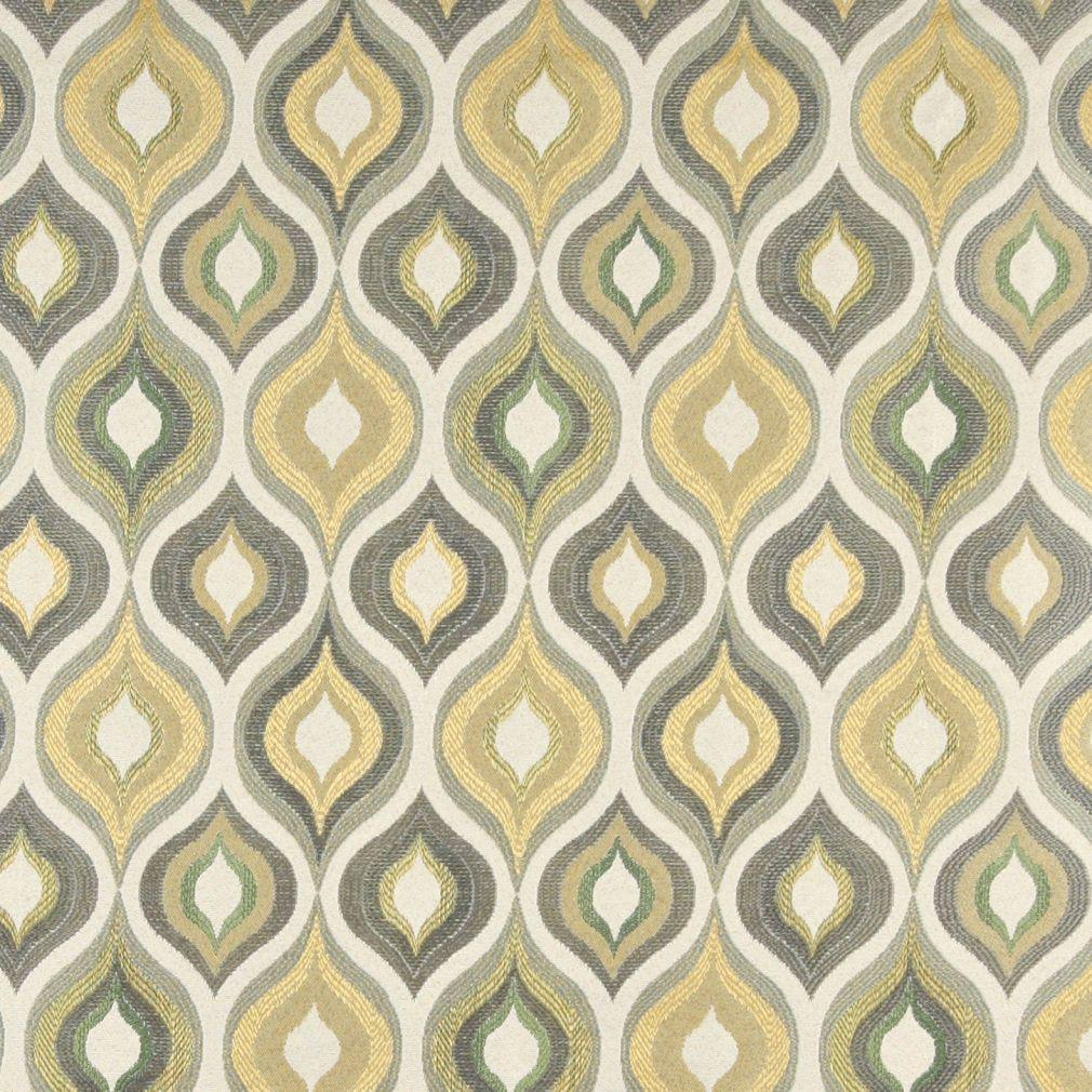 Green Grey White And Gold Teardrop Pattern Contemporary