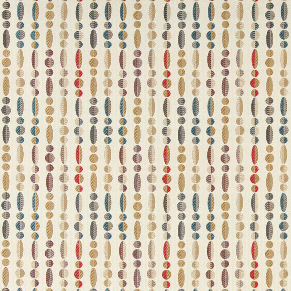 Aqua Burgundy Gold On Beige Abstract Pearl Line Pattern