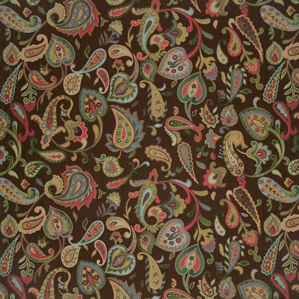 Burgundy Yellow Green On Brown Paisley And Floral Pattern