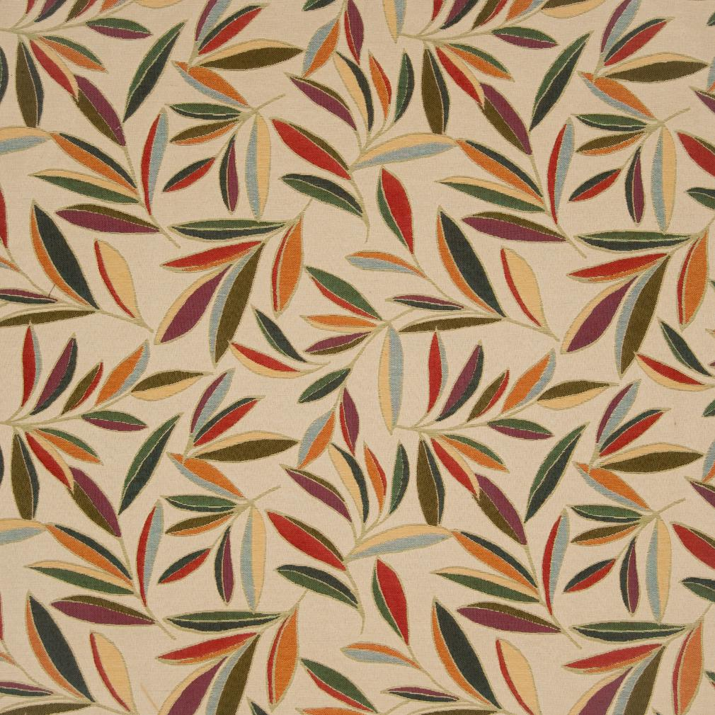 Coral Green Yellow On White Foliage Leaf Pattern