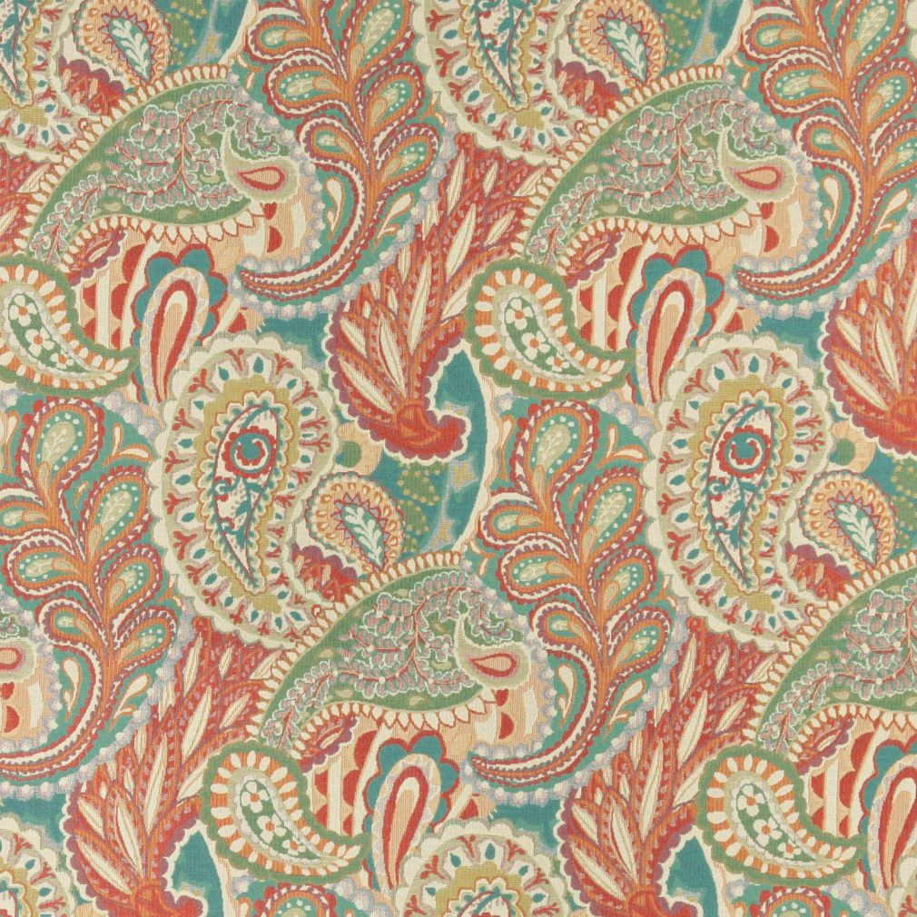 Aqua Beige And Coral Large Artistic Paisley And Floral