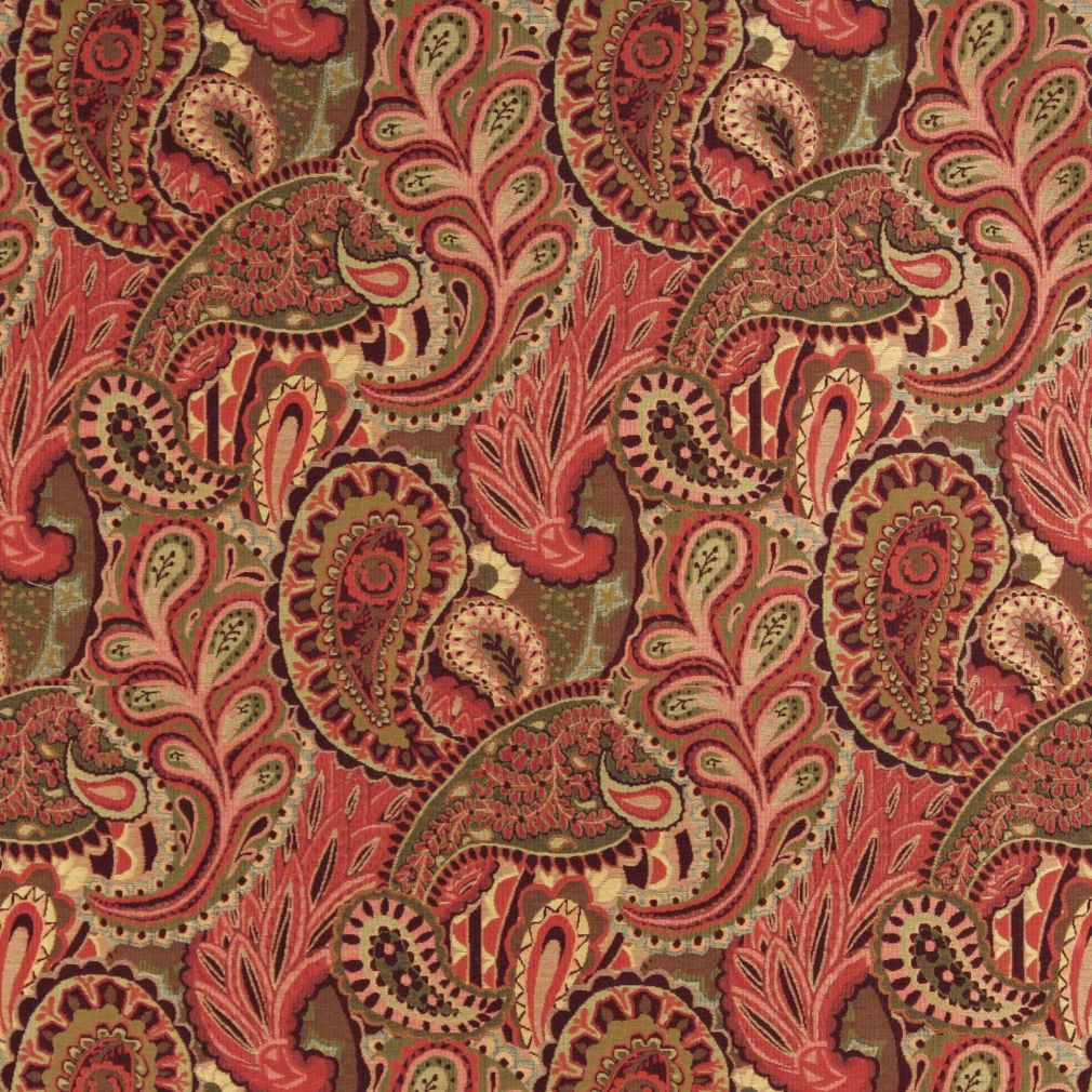 Burgundy And Coral Large Artistic Paisley And Floral Weave