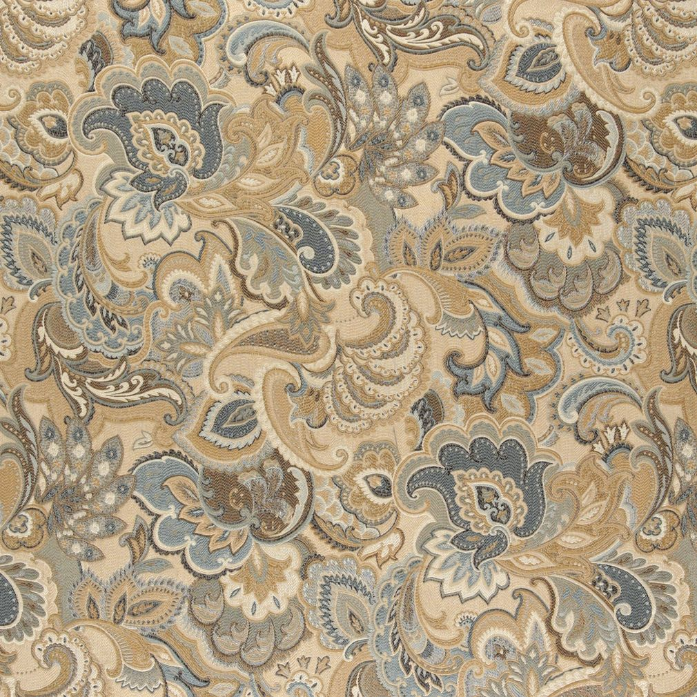 Aqua Grey And Beige Large Intricate Floral And Paisley