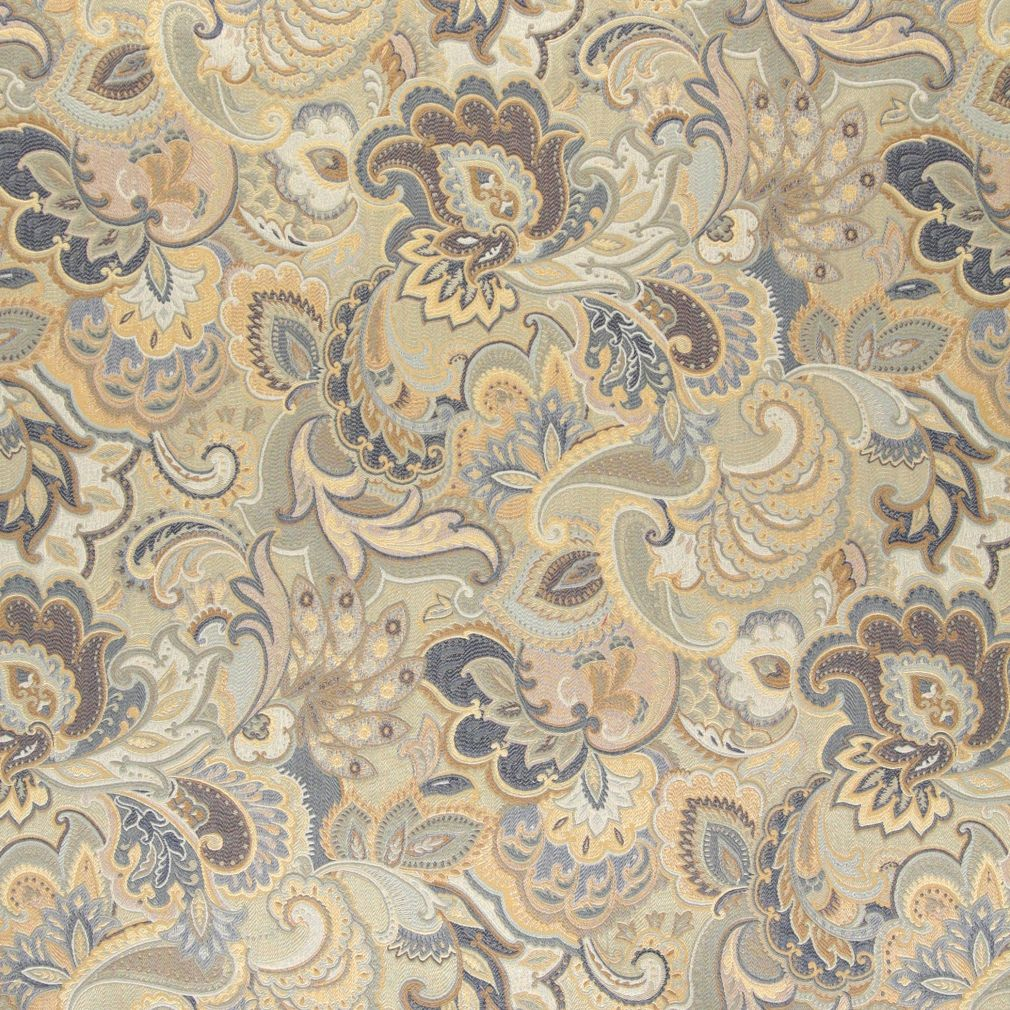 Beige Gold And Dark Blue Large Intricate Floral And