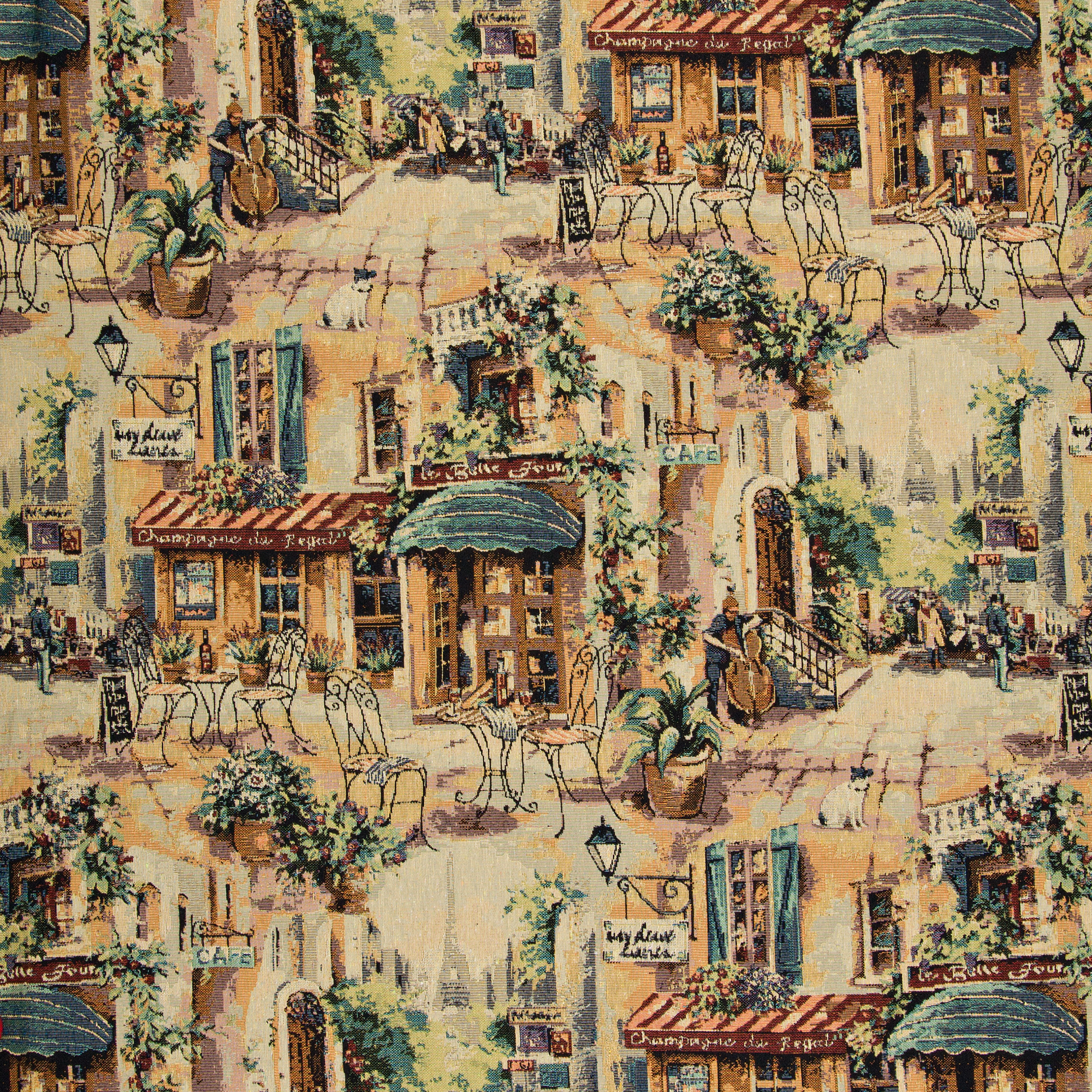 French Bistro Eclectic Cafe Themed Tapestry Upholstery Fabric