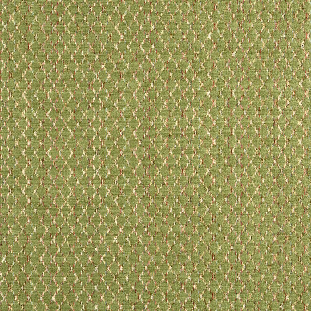 Coral And Green Small Diamond Pattern Damask Upholstery Fabric