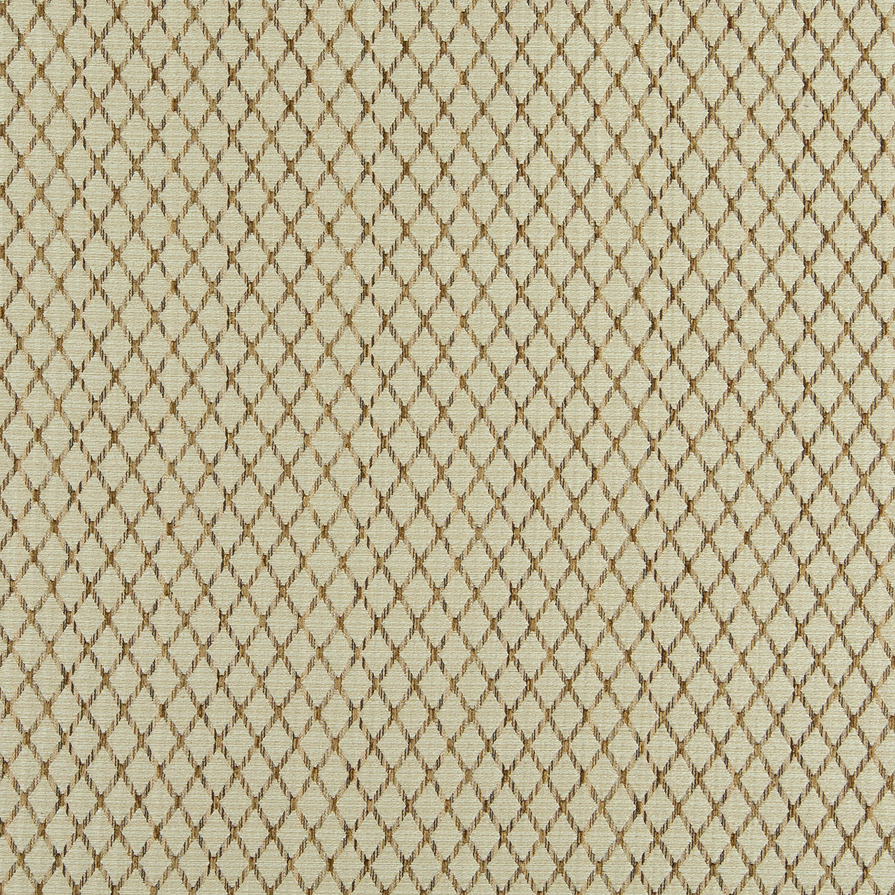 Beige And Brown Small Diamond Pattern Damask Upholstery Fabric