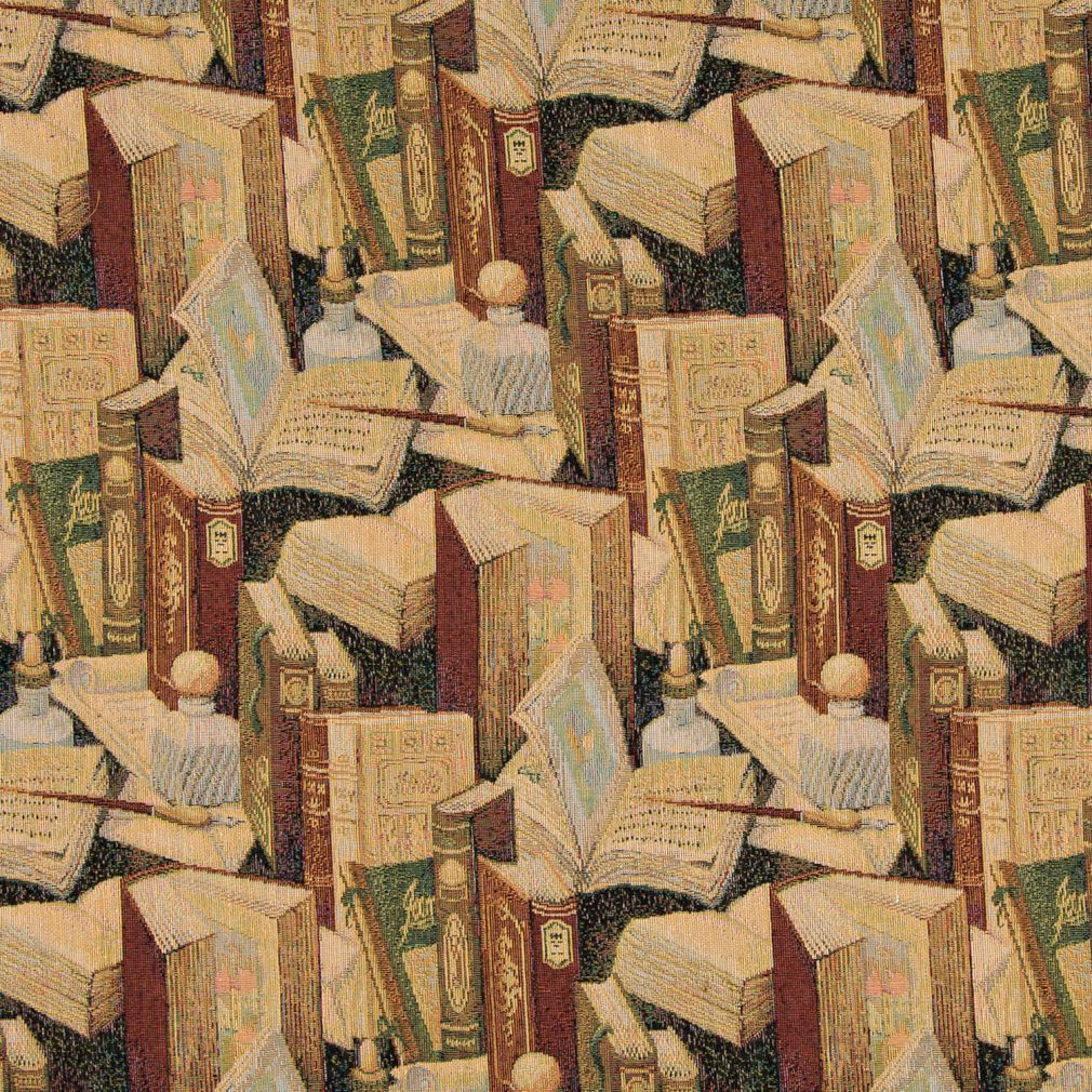 Library Old Books And Writing Themed Tapestry Upholstery Fabric