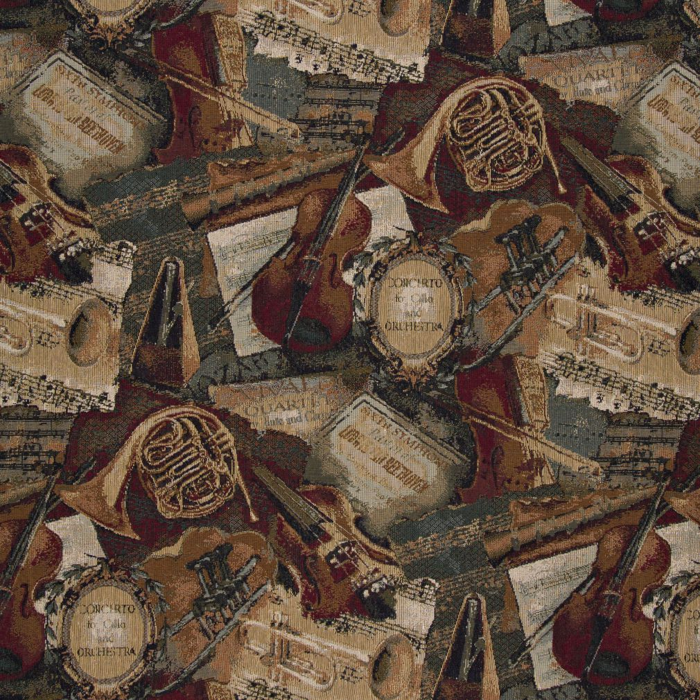Violin trumpet dynamo music sheets theme tapestry upholstery fabric