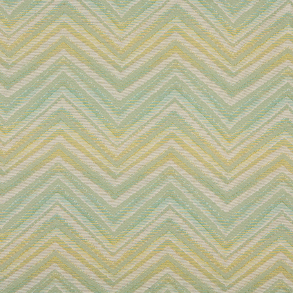 Aqua And Gold Chevron Damask Upholstery Fabric