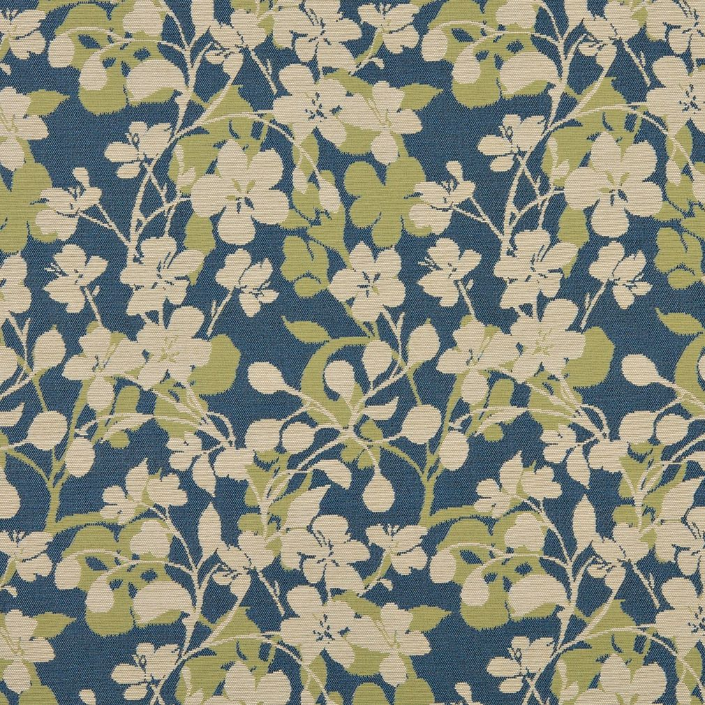 Beige And Blue Light Small Flower Theme Damask Upholstery