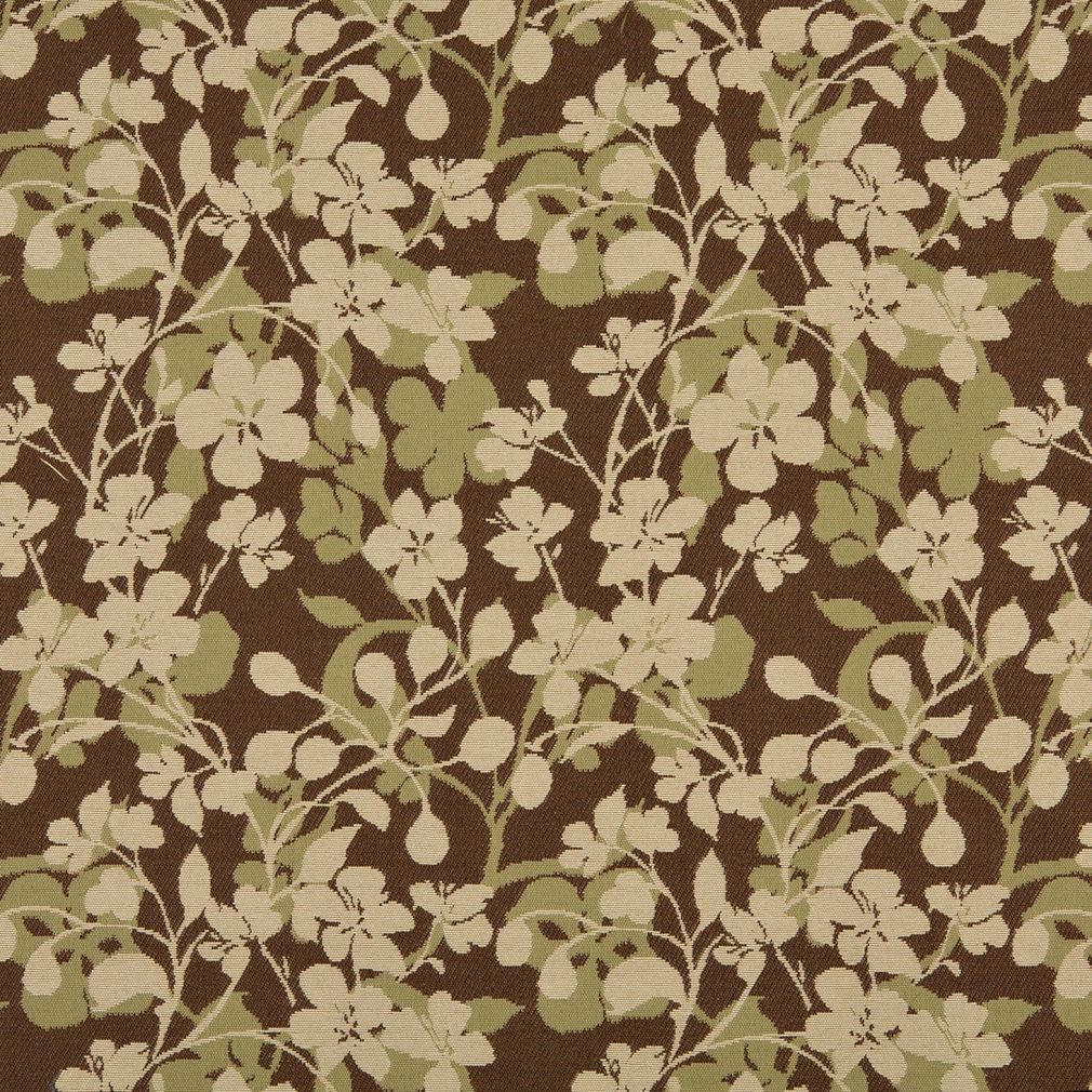 Beige And Brown Small Flower Theme Damask Upholstery Fabric