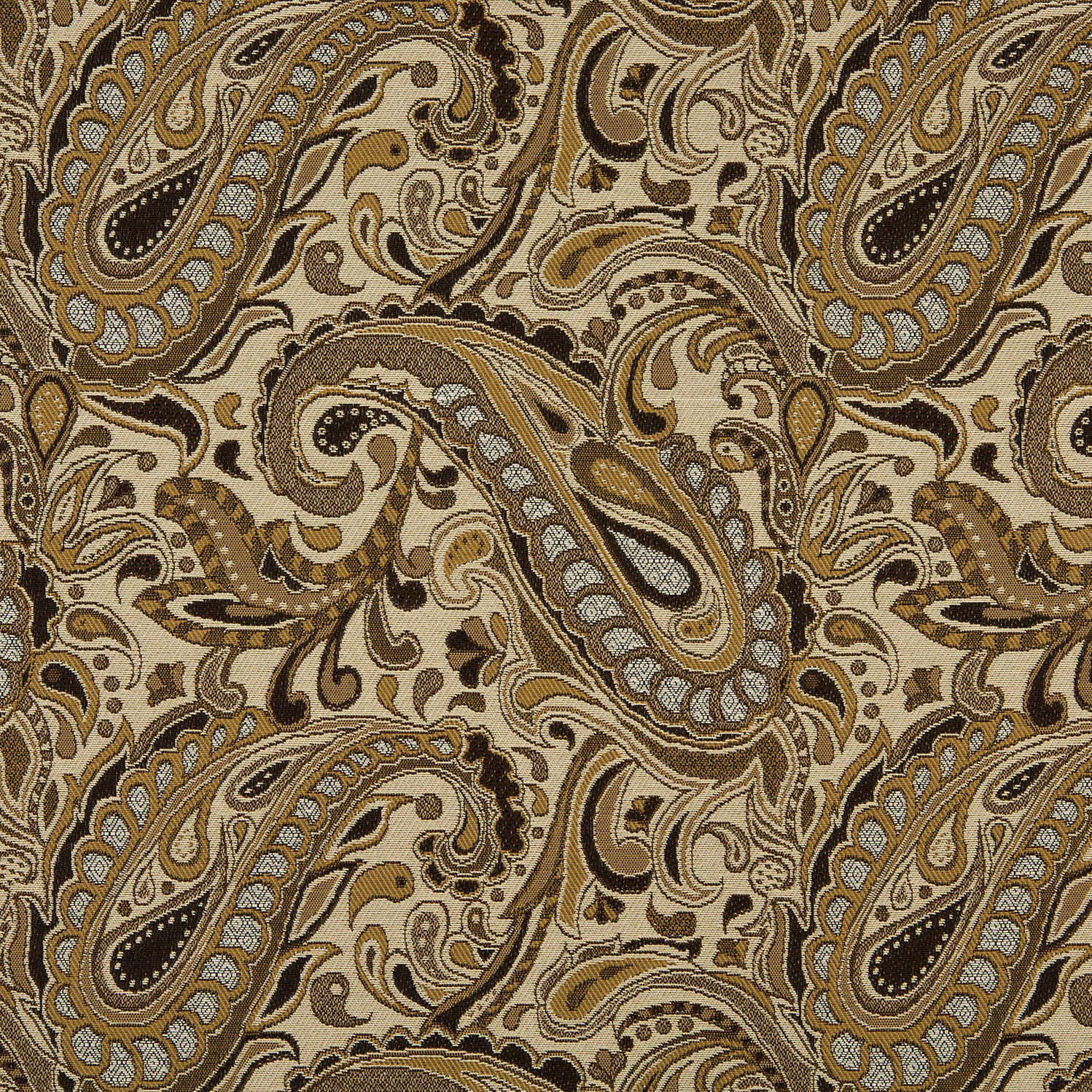 Beige And Brown Paisley Damask Upholstery Fabric
