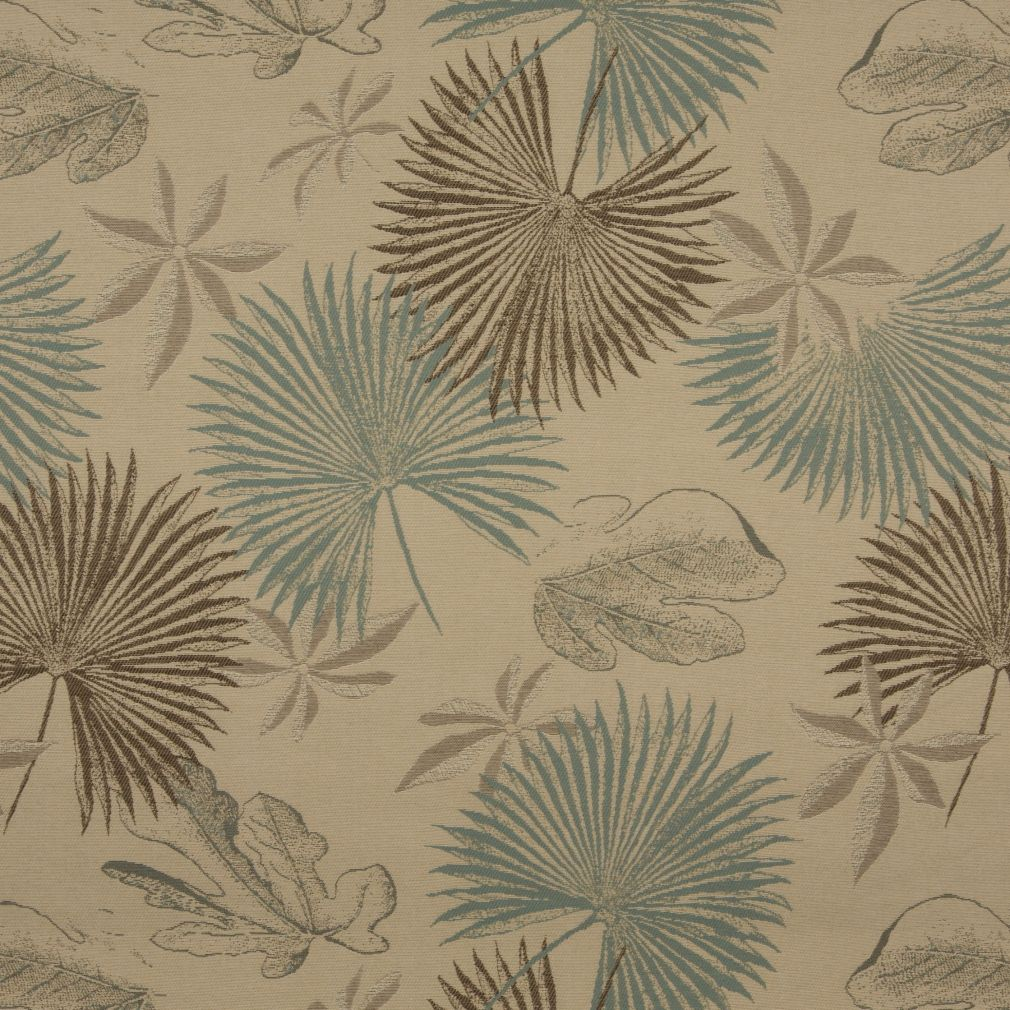 Aqua And Beige Large Tropical Fern And Palm Leaf Pattern