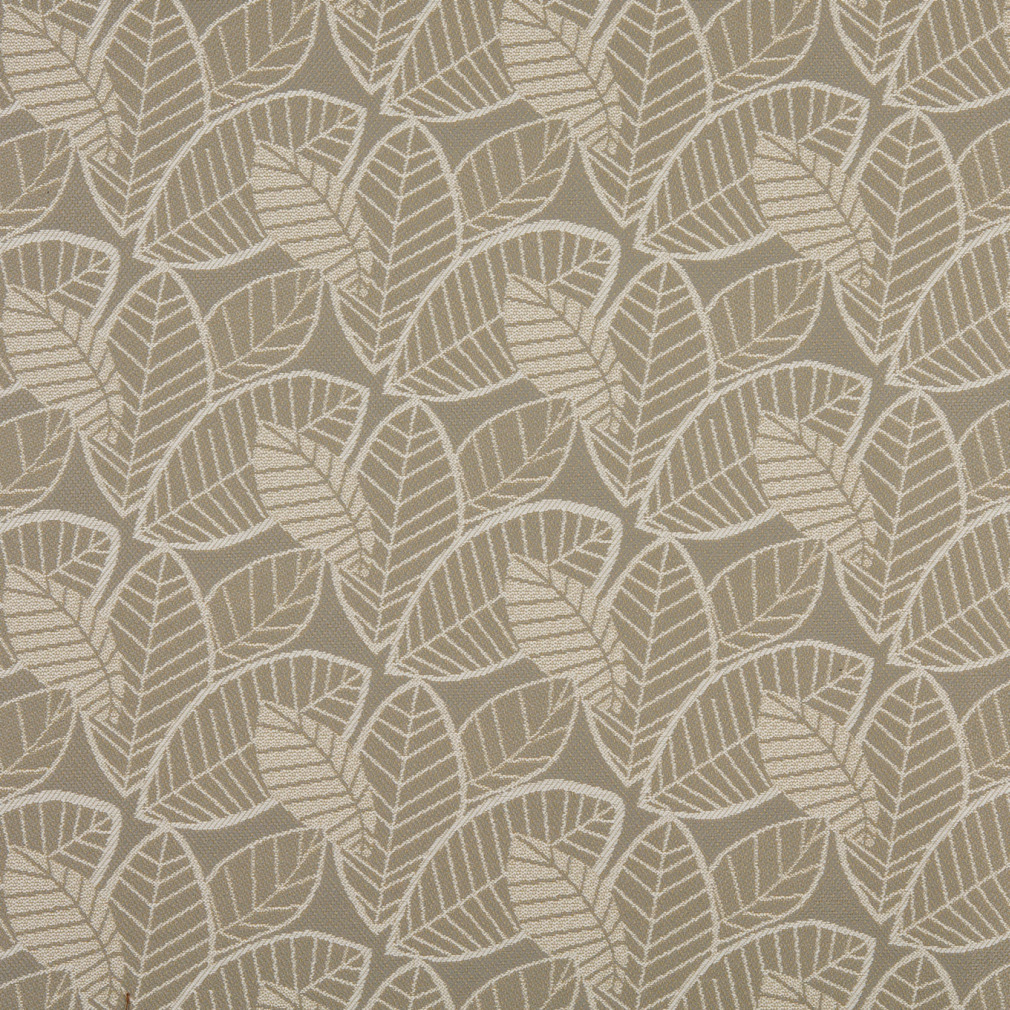 Suede Upholstery Fabric >> White on Beige Large Leaf Pattern Damask Upholstery Fabric