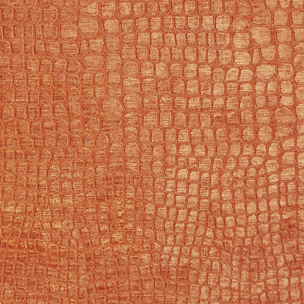 Bright Orange Shiny Reptile Skin Look Velvet Upholstery Fabric