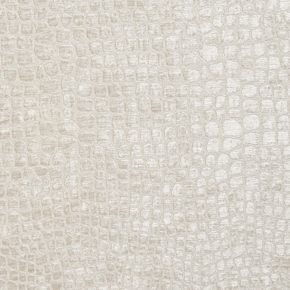 Pearl White Shiny Reptile Skin Look Velvet Upholstery Fabric for White Woven Fabric Texture  113cpg