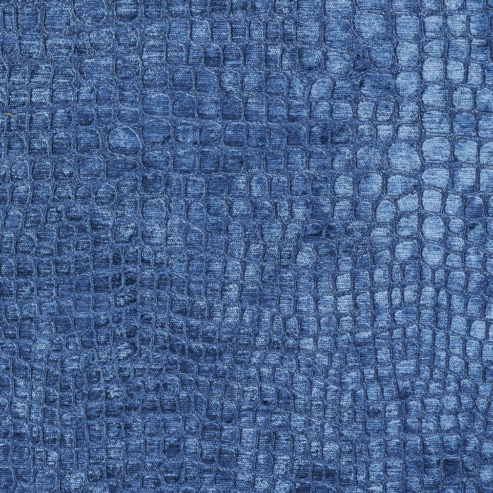 Bright Blue Shiny Reptile Skin Look Velvet Upholstery Fabric