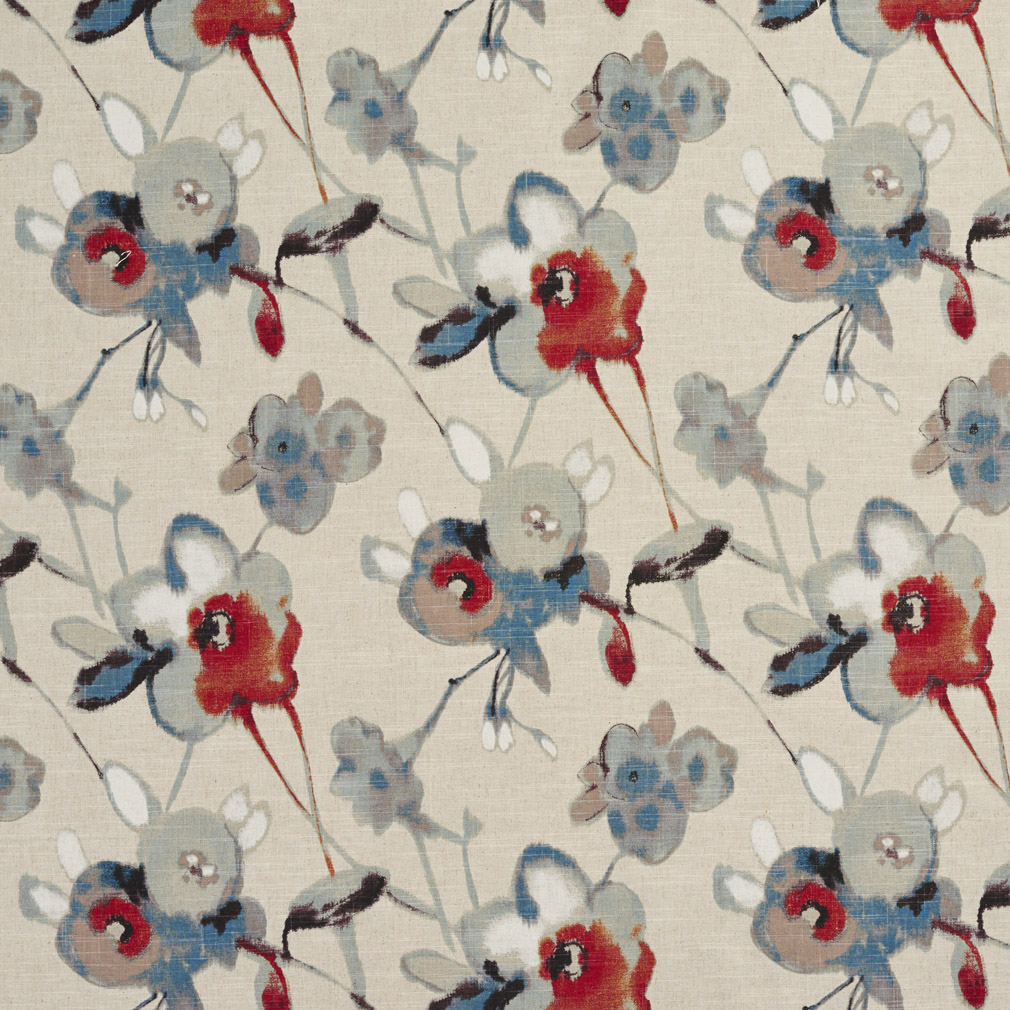 Aqua Red And Beige Floral And Flower Print Linen