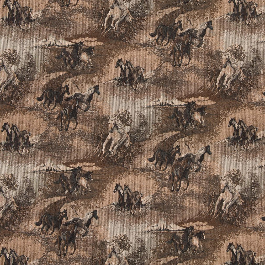 Mustang Beige And Brown Wild Horse Country Theme Tapestry