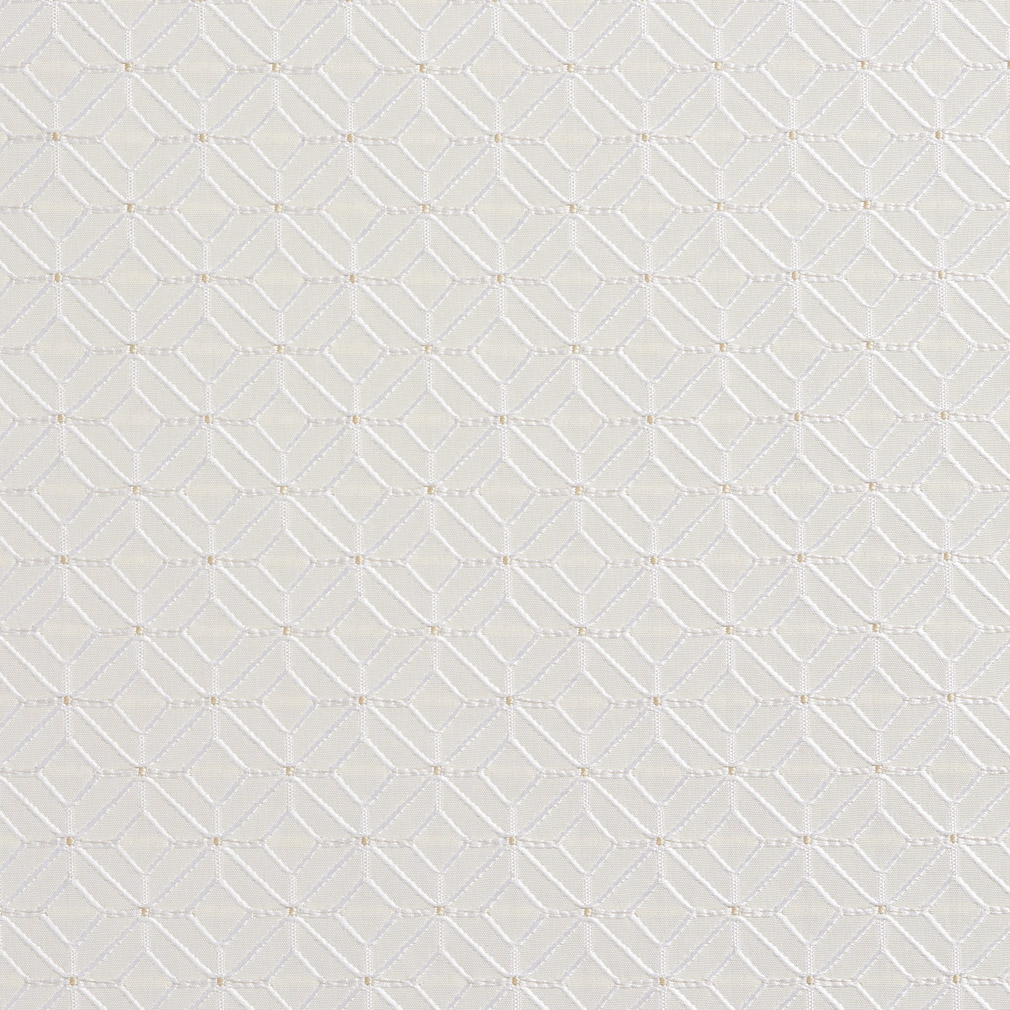 White Abstract Diamond Damask Upholstery Fabric