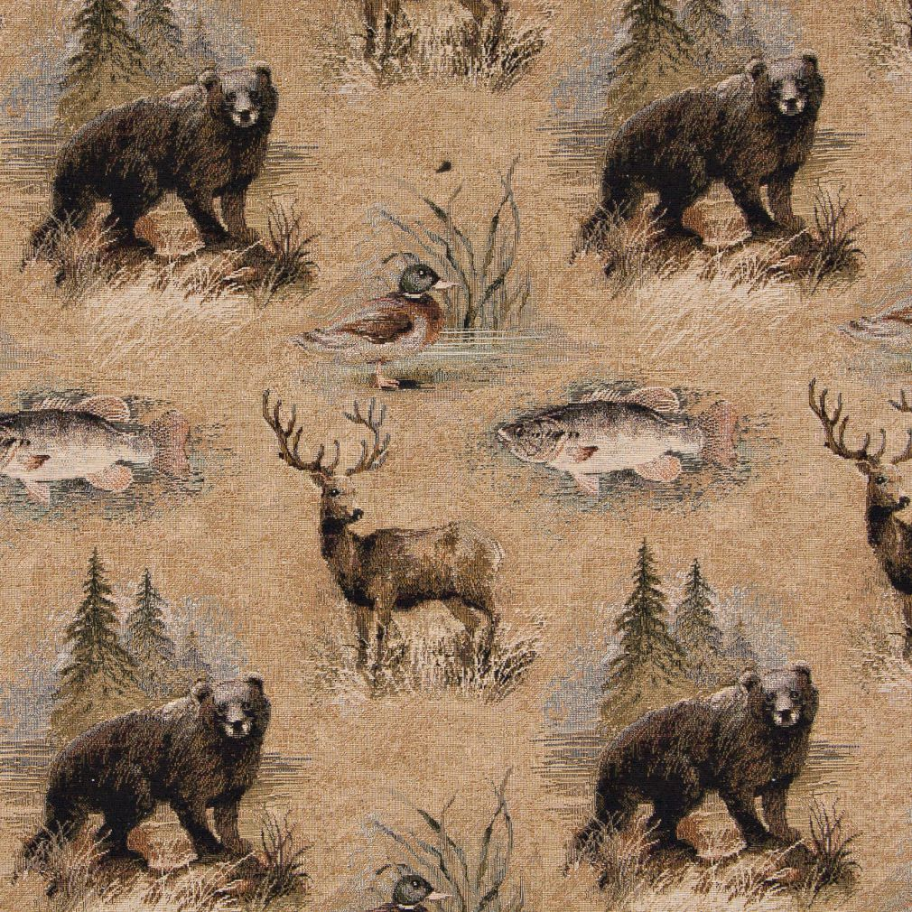 Wetlands Forest Beige And Coral Duck Fish Bear And Deer