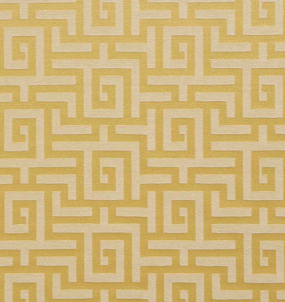 Gold And Beige Geometric Abstract Damask Upholstery Fabric