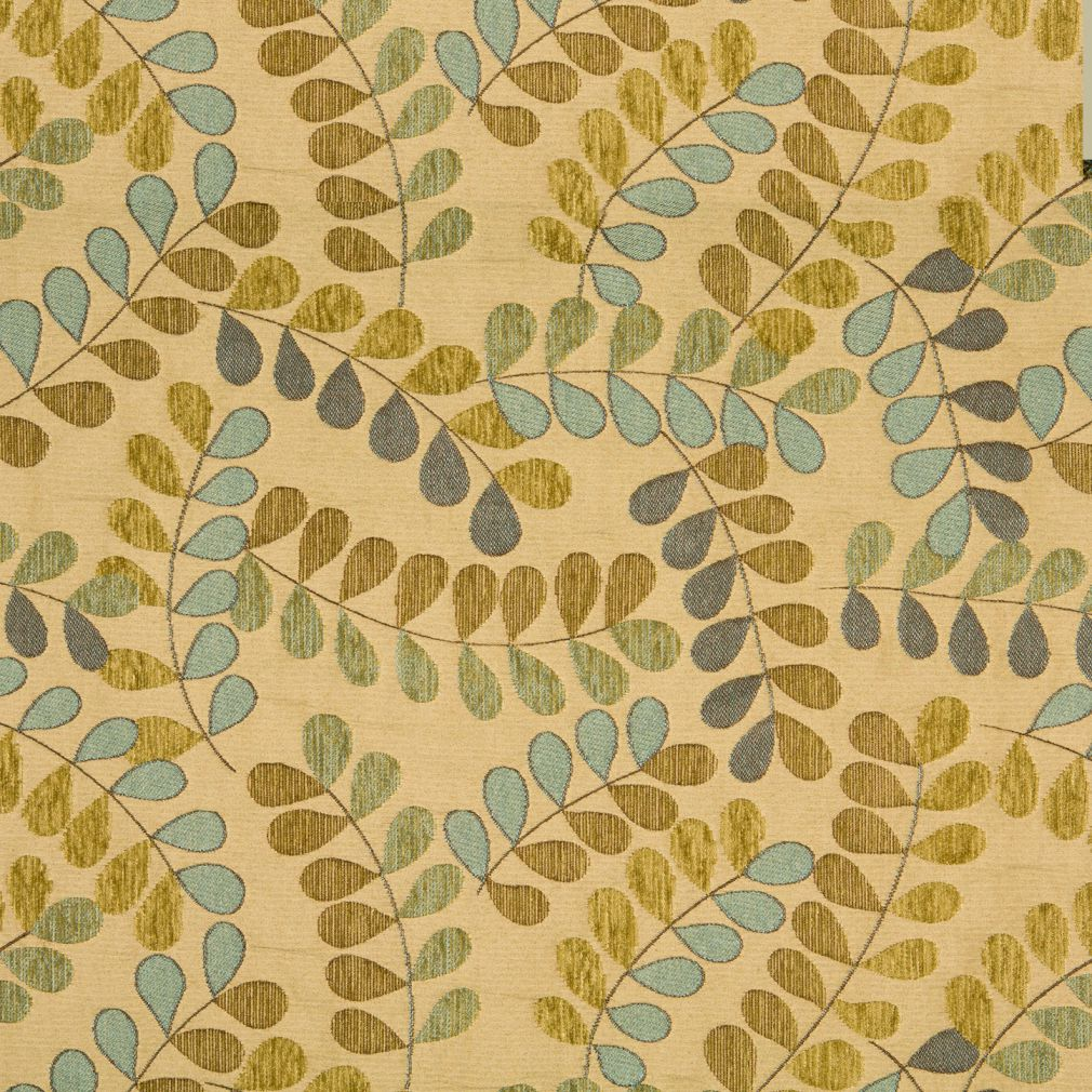 Spring Green Aqua On Beige Leaf And Twine Pattern