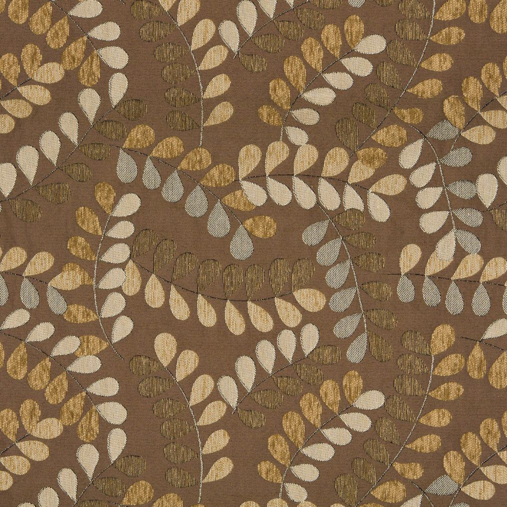 Truffle Beige And Black Leaf And Twine Pattern