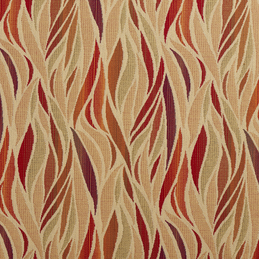 Beige And Burgundy Abstract Tweed Flame Upholstery Fabric