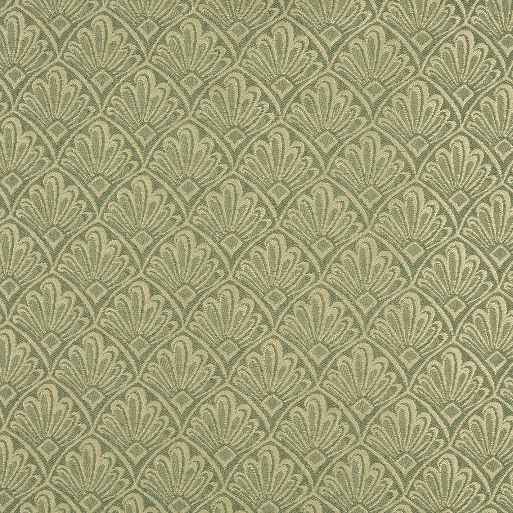 Gold On Spring Green Small Fan Or Leaf Foliage Pattern Damask