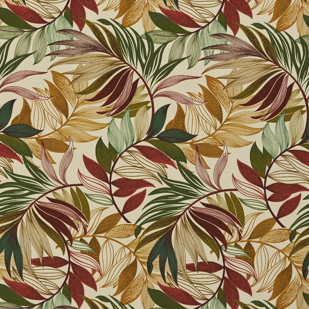Burgundy Green And Coral Tropical Beach Oasis Leaf Themed
