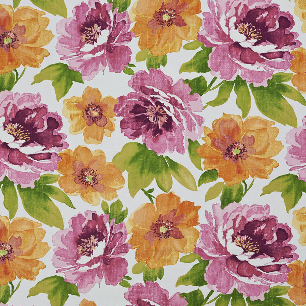 Coral Lilac And Green Large Flower Maui Beach Themed Print