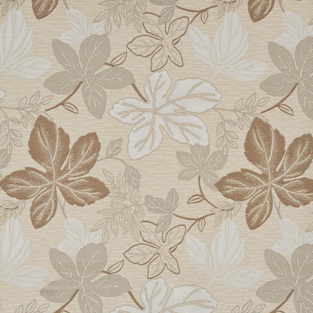 Natural Beige And White Leaf Foliage Damask Upholstery Fabric