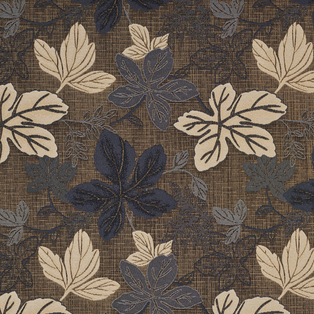 Slate Brown And Beige Leaf Foliage Damask Upholstery Fabric