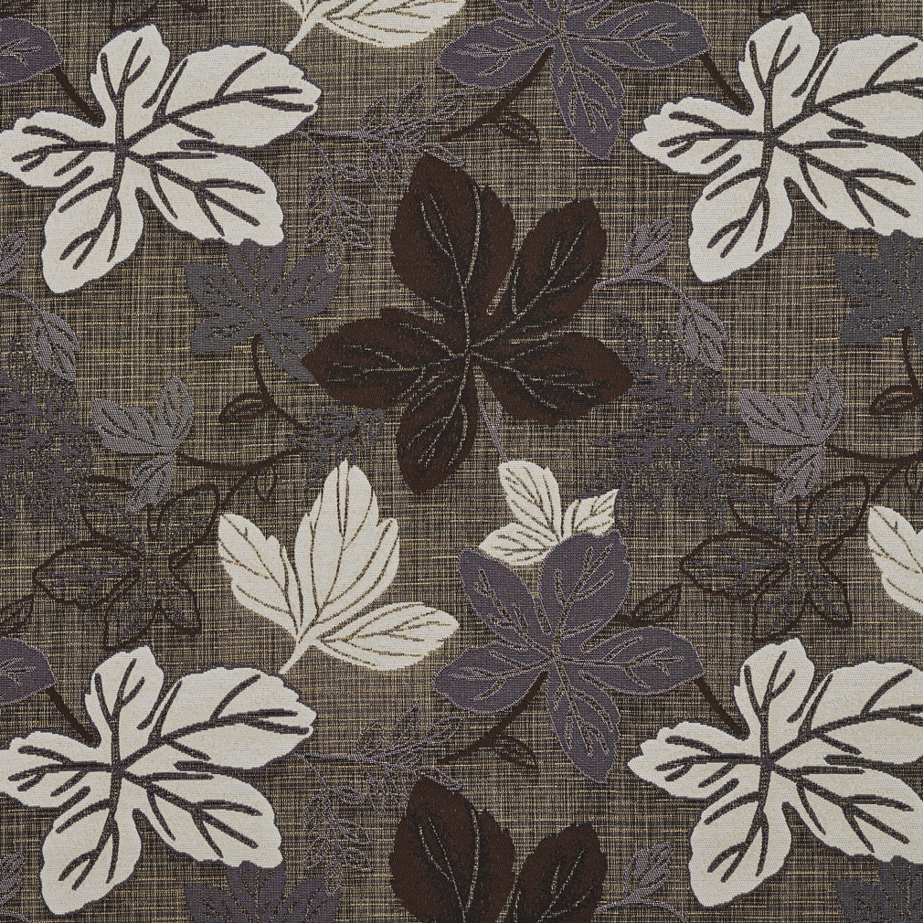 Teak Brown And Grey Leaf Foliage Damask Upholstery Fabric