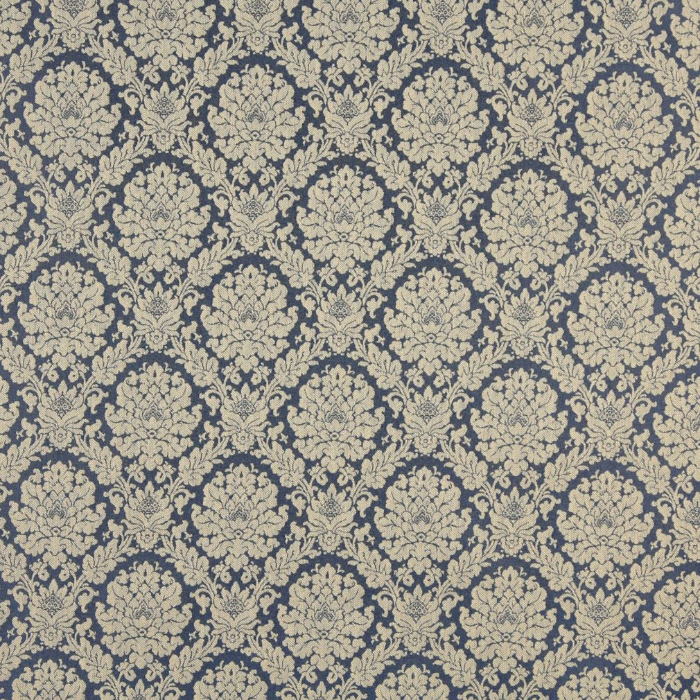 Colonial Beige And Dark Blue Floral Damask Upholstery Fabric