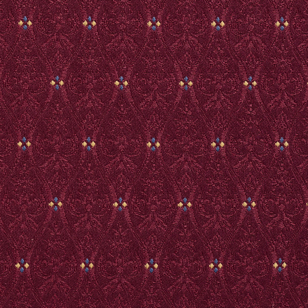 Bordeaux Burgundy Small Scale Damask Upholstery Fabric