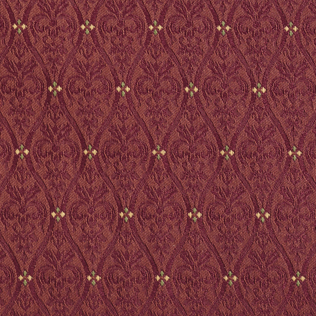 Brandy Burgundy Small Scale Damask Upholstery Fabric