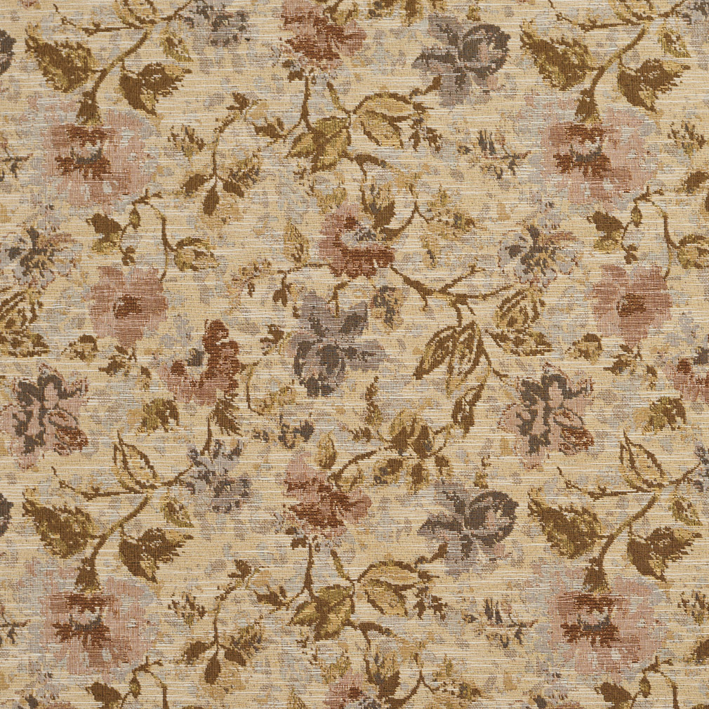 Antique Burgundy And Gold Floral Tapestry Upholstery Fabric
