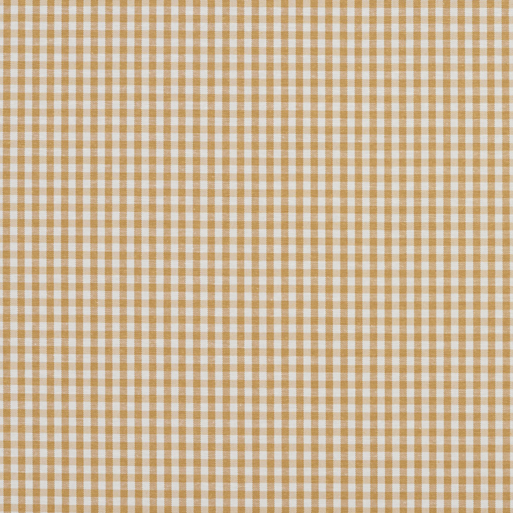 Camel Gingham Beige And Gold Small Scale Denim Drapery And