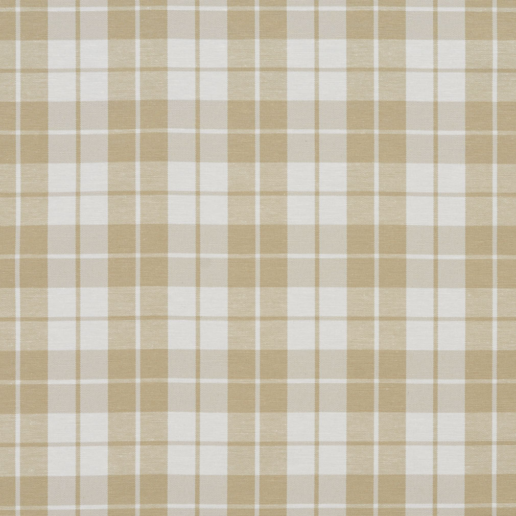 Khaki Beige And White Plaid Denim Upholstery Fabric