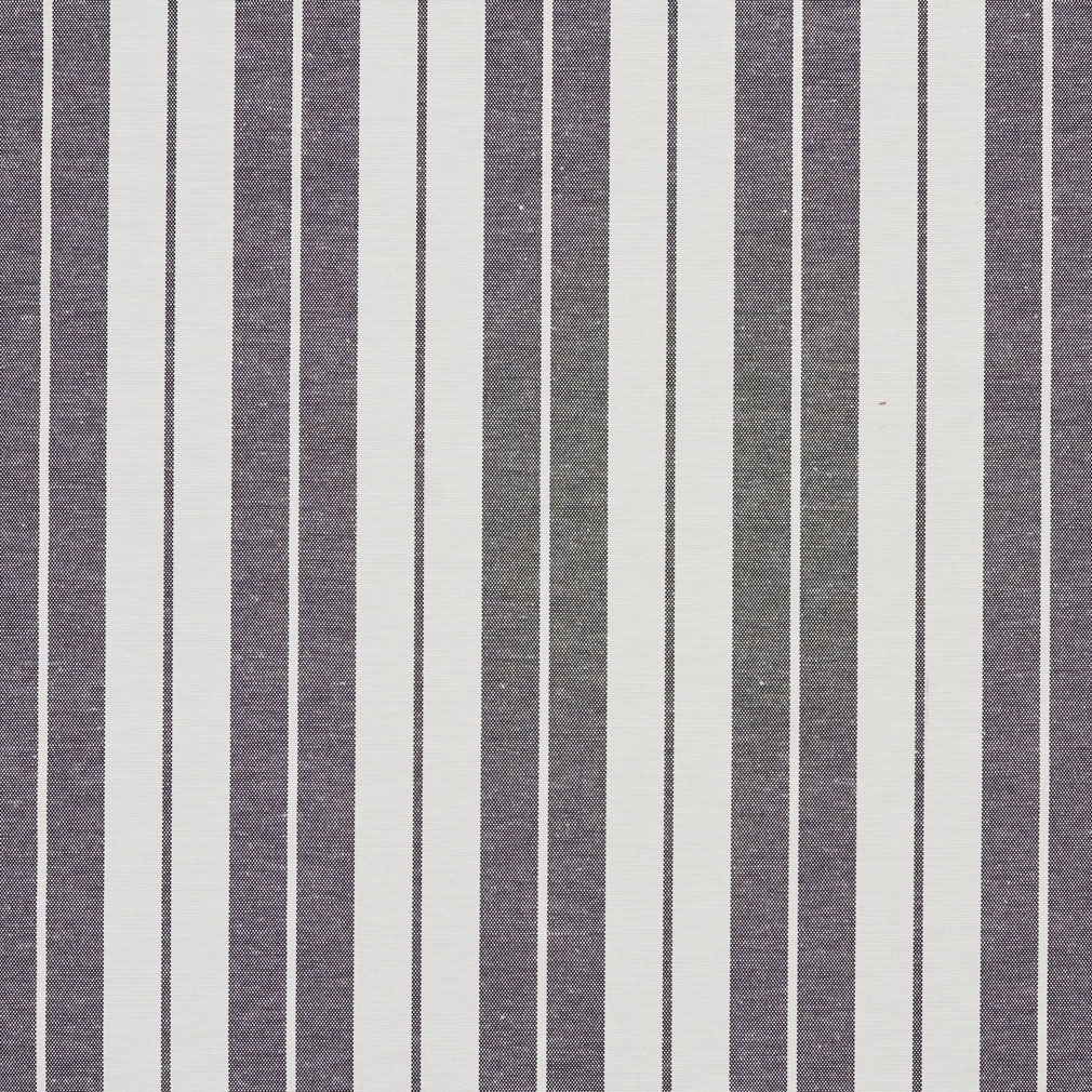 Onyx Black And White Small Stripe Denim Upholstery Fabric