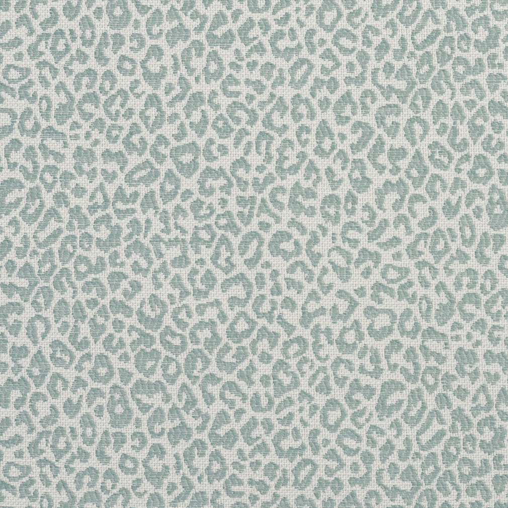 Blue Aqua And Cream Leopard Animal Print Damask Upholstery